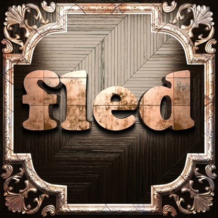 fled: word with classic ornament made in 3D Stock Photo