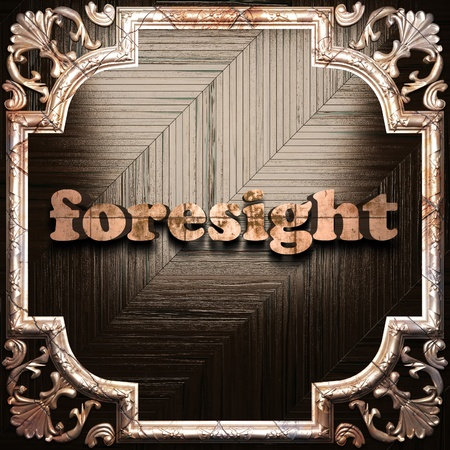 foresight: word with classic ornament made in 3D Stock Photo