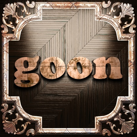 goon: word with classic ornament made in 3D Stock Photo