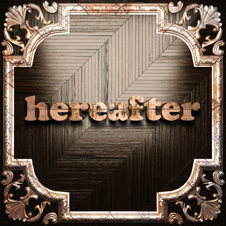 hereafter: word with classic ornament made in 3D Stock Photo