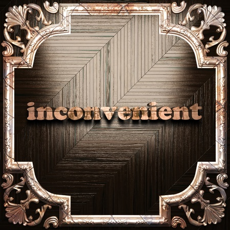 inconvenient: word with classic ornament made in 3D Stock Photo