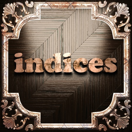 indices: word with classic ornament made in 3D Stock Photo