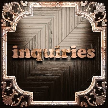 inquiries: word with classic ornament made in 3D Stock Photo