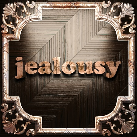 jealousy: word with classic ornament made in 3D Stock Photo