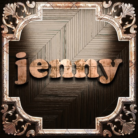 jenny: word with classic ornament made in 3D Stock Photo