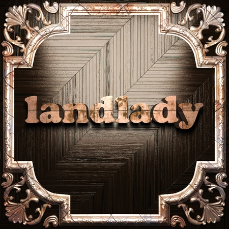 landlady: word with classic ornament made in 3D Stock Photo