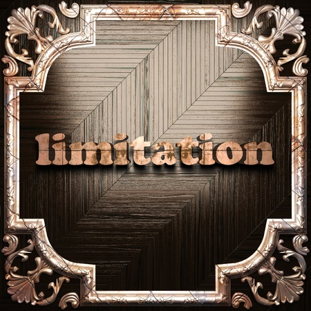limitation: word with classic ornament made in 3D Stock Photo