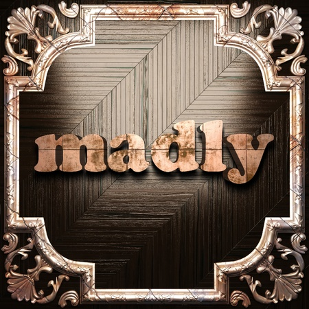 madly: word with classic ornament made in 3D Stock Photo