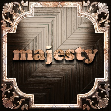 the majesty: word with classic ornament made in 3D Stock Photo