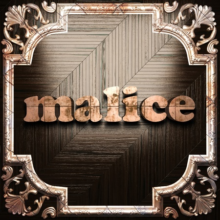 malice: word with classic ornament made in 3D Stock Photo