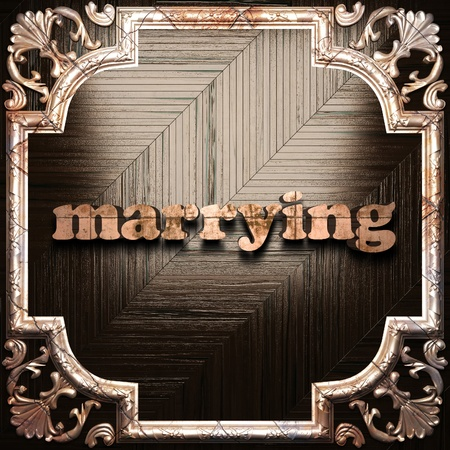 marrying: word with classic ornament made in 3D Stock Photo