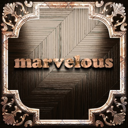 marvelous: word with classic ornament made in 3D Stock Photo