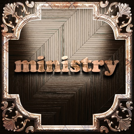 ministry: word with classic ornament made in 3D Stock Photo