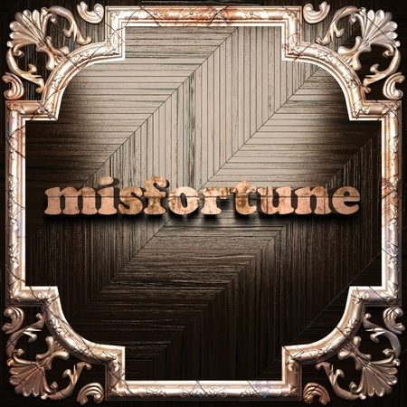 misfortune: word with classic ornament made in 3D Stock Photo