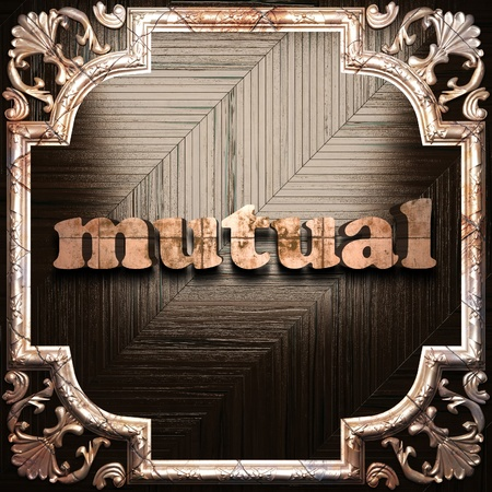 mutual: word with classic ornament made in 3D Stock Photo