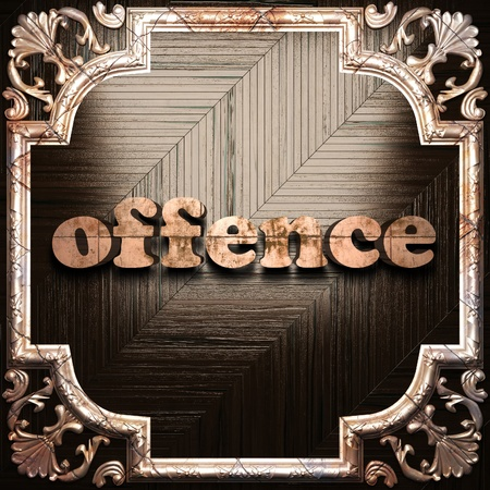 offence: word with classic ornament made in 3D Stock Photo