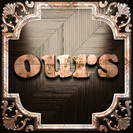 ours: word with classic ornament made in 3D Stock Photo