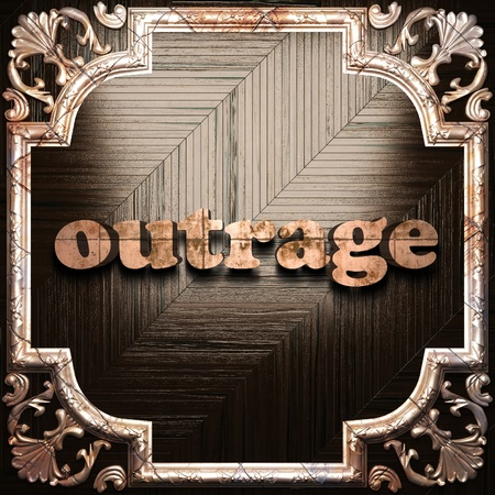 outrage: word with classic ornament made in 3D Stock Photo