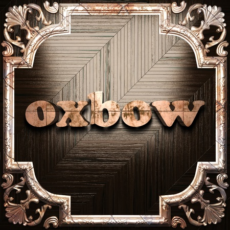 oxbow: word with classic ornament made in 3D Stock Photo