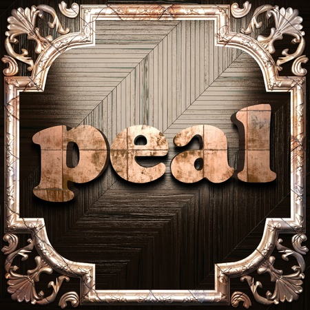 peal: word with classic ornament made in 3D Stock Photo