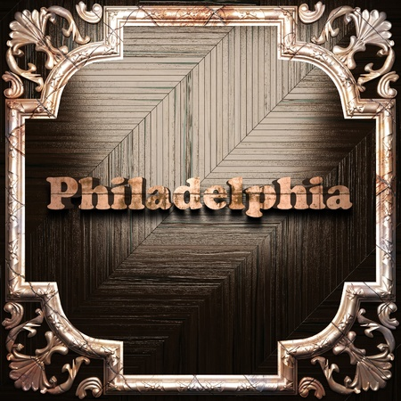 philadelphia: word with classic ornament made in 3D Stock Photo