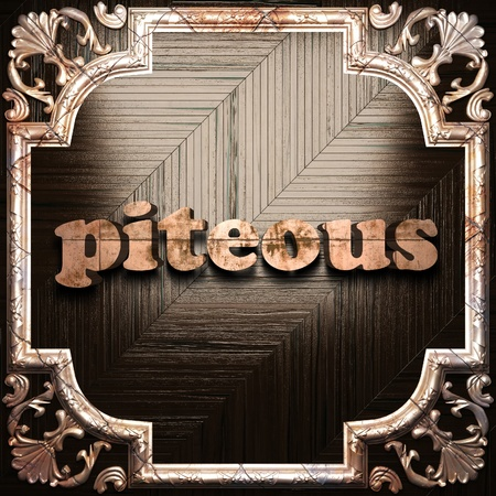 piteous: word with classic ornament made in 3D Stock Photo