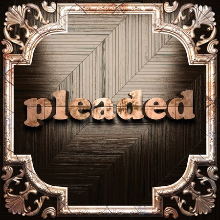 pleaded: word with classic ornament made in 3D Stock Photo
