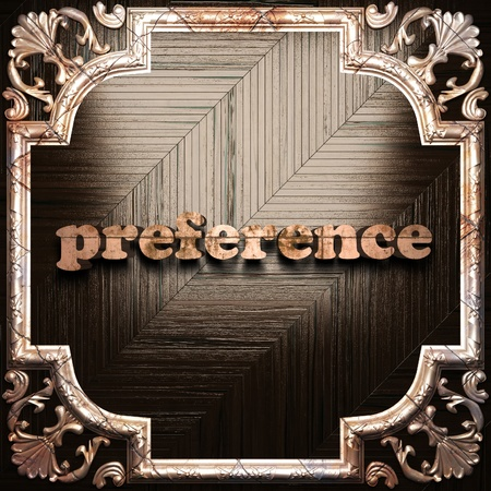 preference: word with classic ornament made in 3D Stock Photo