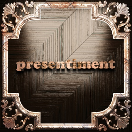 presentiment: word with classic ornament made in 3D Stock Photo