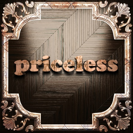 priceless: word with classic ornament made in 3D Stock Photo