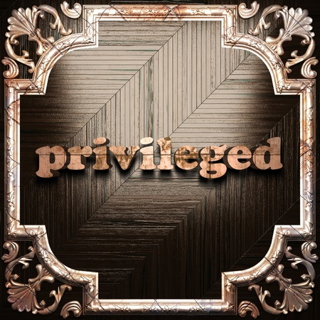 privileged: word with classic ornament made in 3D Stock Photo