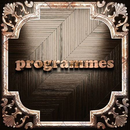 programmes: word with classic ornament made in 3D Stock Photo