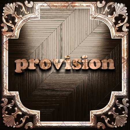 provision: word with classic ornament made in 3D Stock Photo