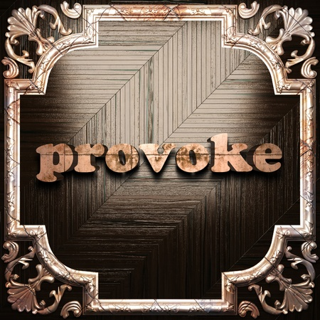 provoke: word with classic ornament made in 3D Stock Photo