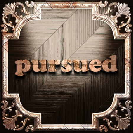 pursued: word with classic ornament made in 3D Stock Photo