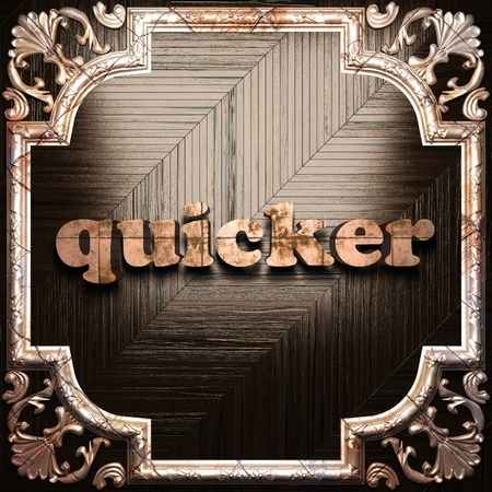 quicker: word with classic ornament made in 3D Stock Photo