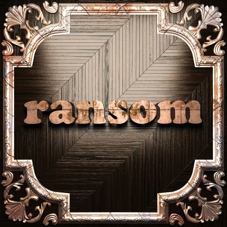 ransom: word with classic ornament made in 3D Stock Photo