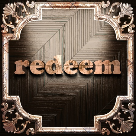 redeem: word with classic ornament made in 3D Stock Photo