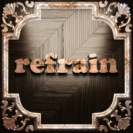 refrain: word with classic ornament made in 3D Stock Photo