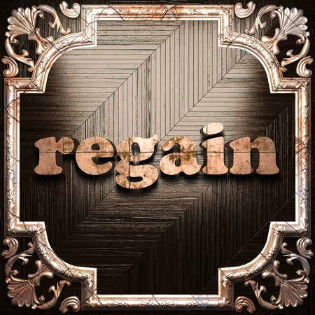 regain: word with classic ornament made in 3D Stock Photo