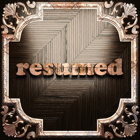 resumed: word with classic ornament made in 3D Stock Photo