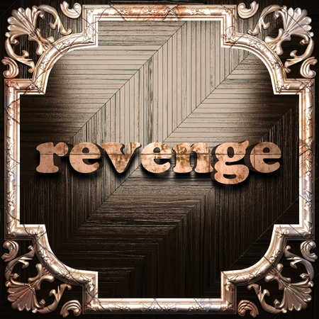 revenge: word with classic ornament made in 3D Stock Photo