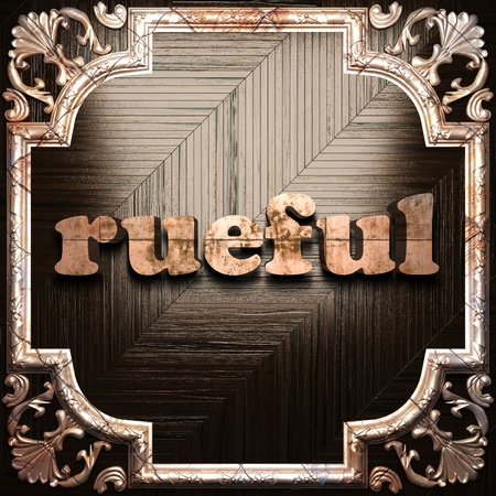 rueful: word with classic ornament made in 3D Stock Photo
