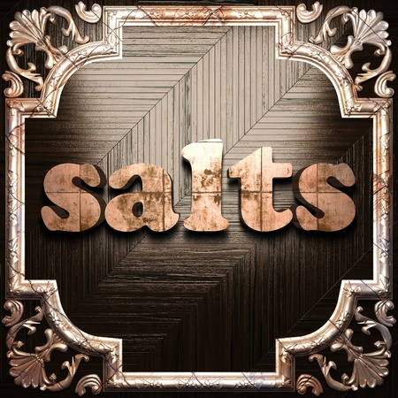 salts: word with classic ornament made in 3D Stock Photo