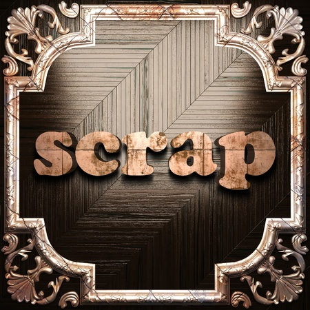 scrap metal: word with classic ornament made in 3D Stock Photo