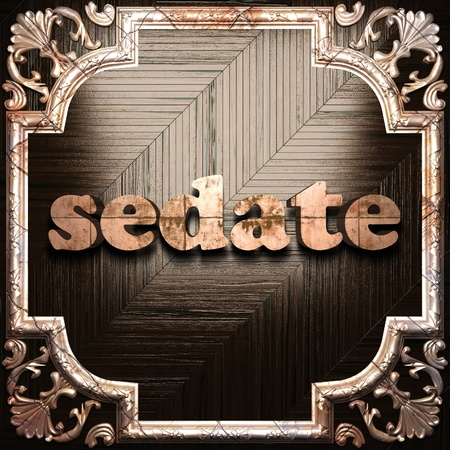 sedate: word with classic ornament made in 3D Stock Photo