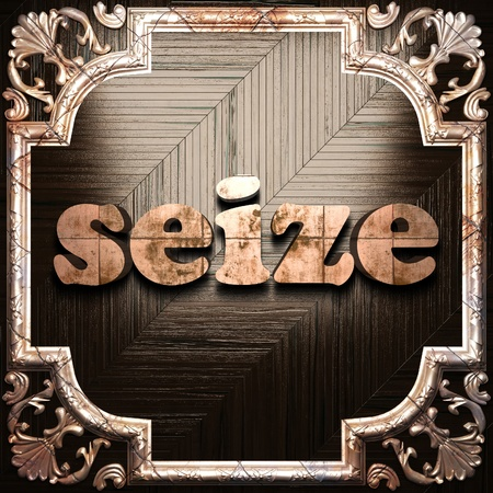 seize: word with classic ornament made in 3D Stock Photo