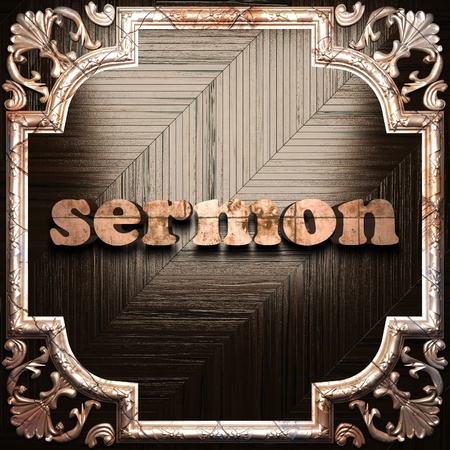sermon: word with classic ornament made in 3D Stock Photo