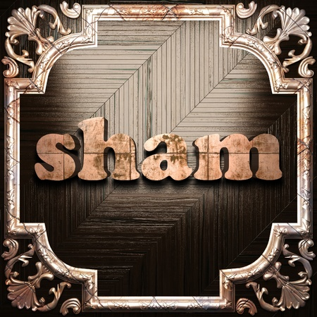 sham: word with classic ornament made in 3D Stock Photo