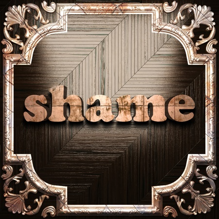 shame: word with classic ornament made in 3D Stock Photo